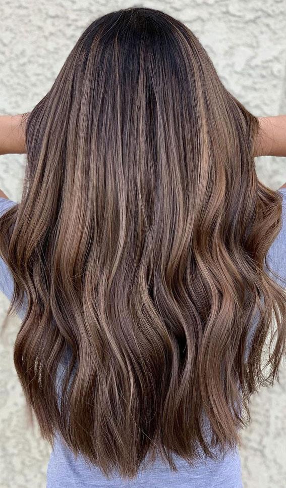 kış saç rengi, brunetthe, esmer balayaj, saç rengi fikirleri, kahverengi saç rengi