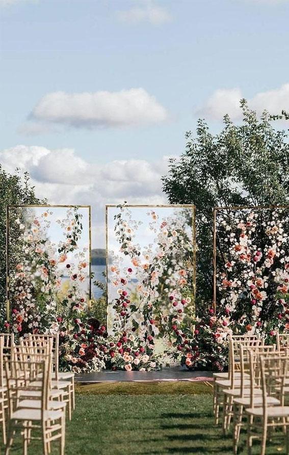 garden wedding , garden wedding ceremony , wedding ceremony decor , flower wedding backdrop