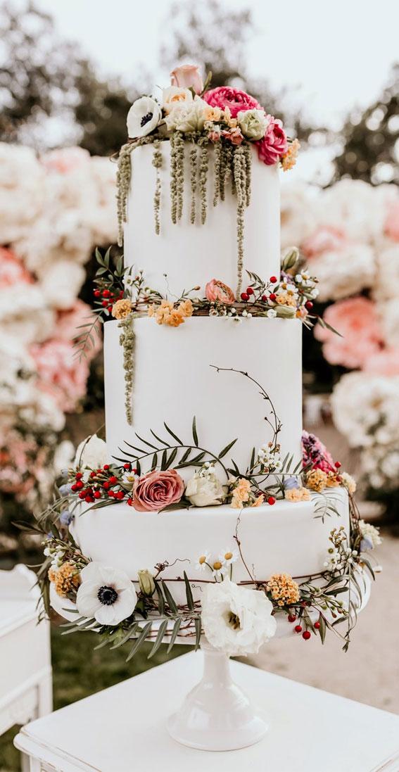 painted wedding cake, wedding cake, wedding cake ideas, garden wedding