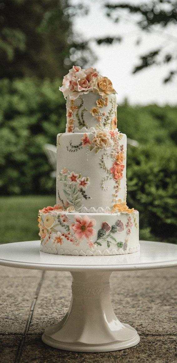 painted wedding cake, wedding cake, wedding cake ideas, garden wedding , floral buttercream wedding cake