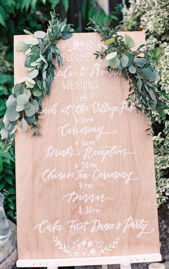 order of the day wedding sign, wedding sign, garden wedding sign, order of the day