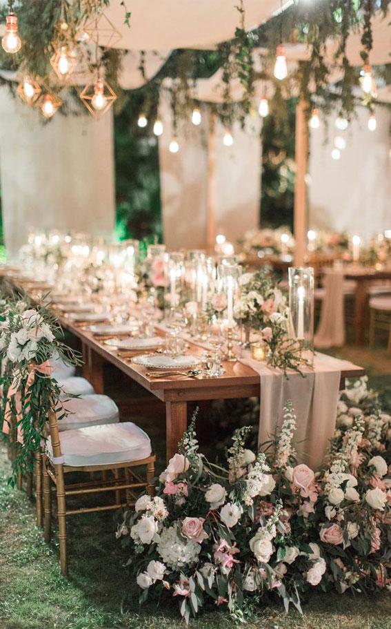 garden wedding reception, long wedding table decoration, wedding table setting, garden wedding decor ideas