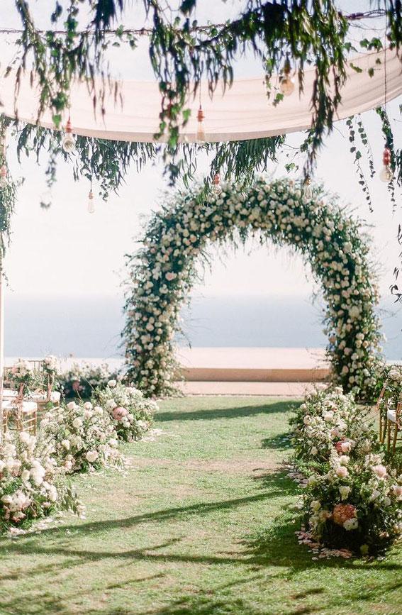 garden wedding , garden wedding ceremony , wedding ceremony decor , greenery wedding arch