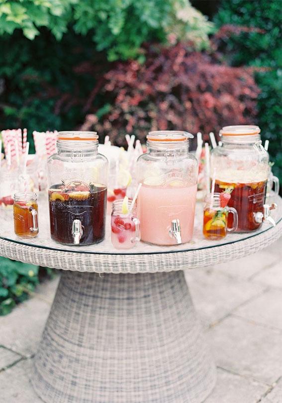 drink station, garden wedding, pim and lemonade, summer wedding ideas