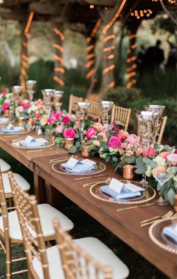 pink wedding centerpieces, pink and greenery wedding table runner