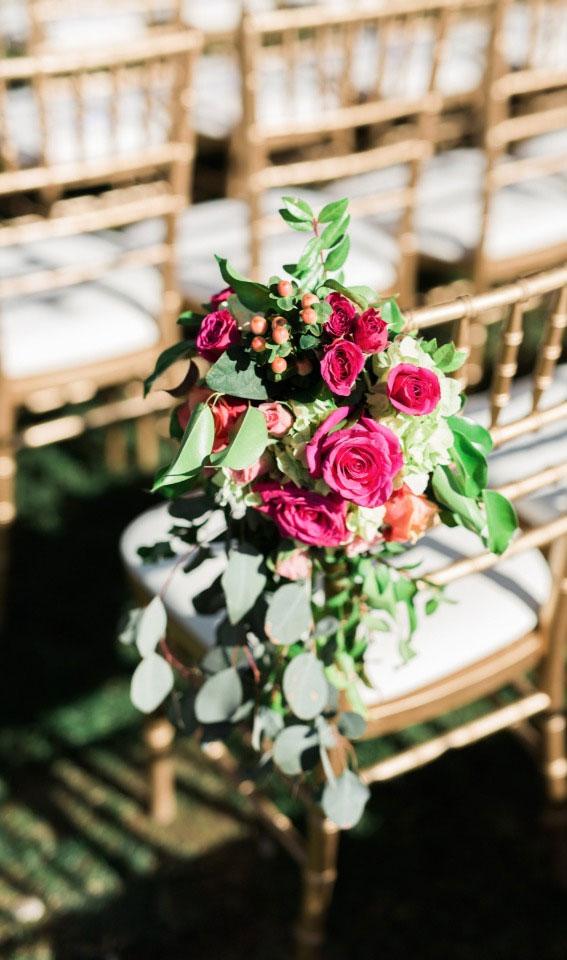 pink wedding ideas, wedding aisle decor