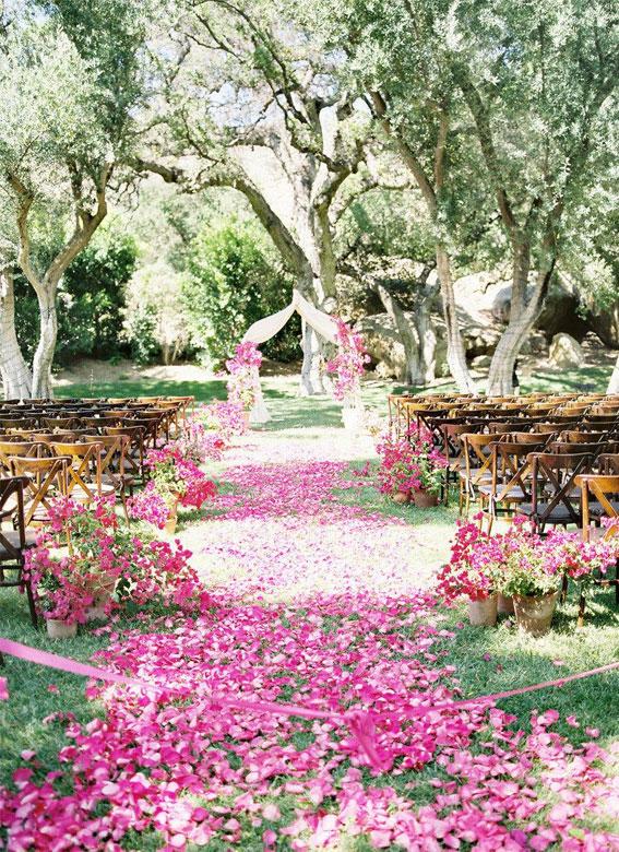 garden wedding ceremony , outdoor wedding ceremony, pink petal aisle wedding decors, garden wedding decors