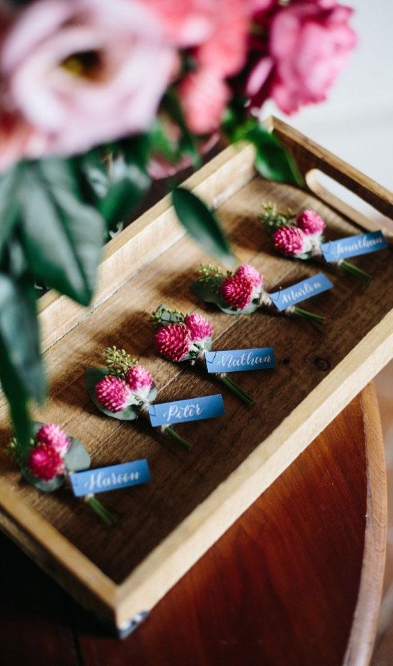 pink boutonnieres , pink wedding flowers, pink wedding ideas