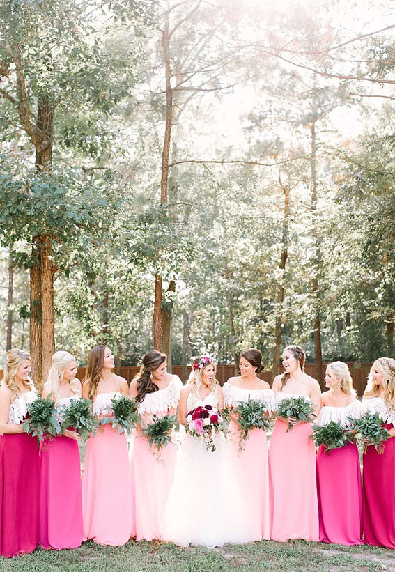 pink bridesmaid dresses, bridesmaid dresses, pink wedding
