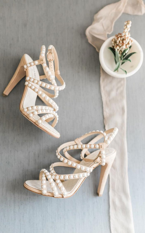 chanel, white sandals, white bridal sandals, white wedding shoes