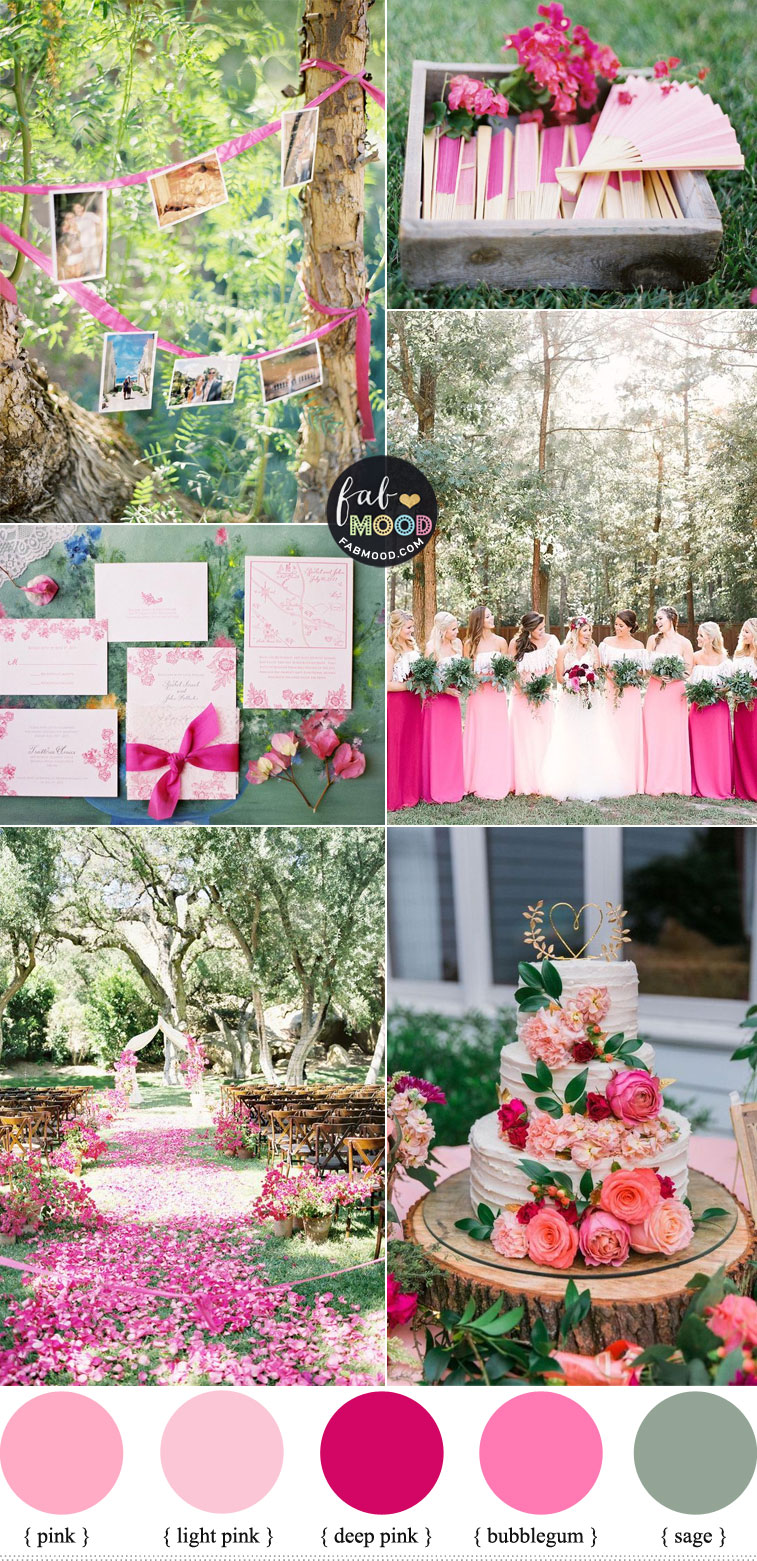 Different Shades of Pink and Sage Wedding Color Palette { Wedding Color Trends 2021 }