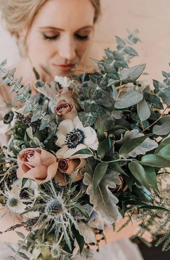 sage wedding bouquet, sage and peach wedding bouquet, wedding bouquet ideas 2021
