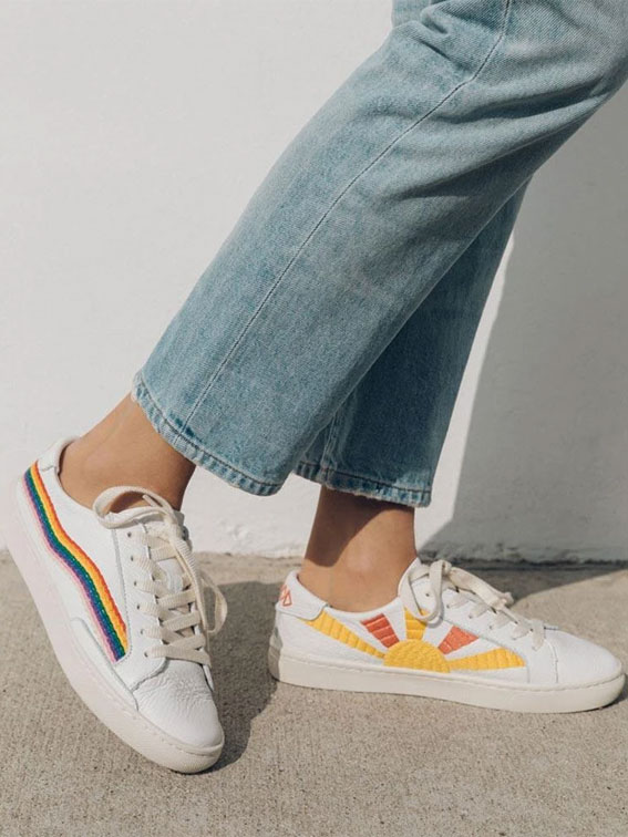 rainbow white sneakers, awesome sneakers, embroidered rainbow wave sneakers, embroidered sneakers