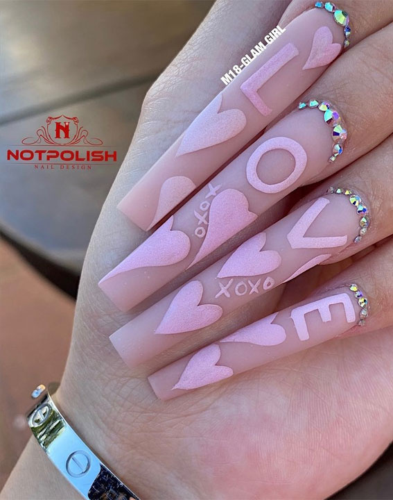 pink valentines nails 2021, heart and kiss valentine's day nails, black and gold long nails, mix and match valentines nails 2021