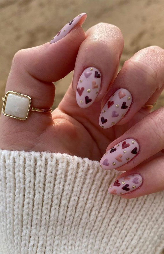 love heart nails, simple heart nails design , love heart sweet nails, heart nail art , heart nails 2021