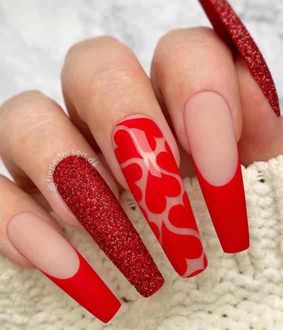 red valentine nails, red valentines nails, valentine's nails, valentine's day nails, valentine nail art designs 2021