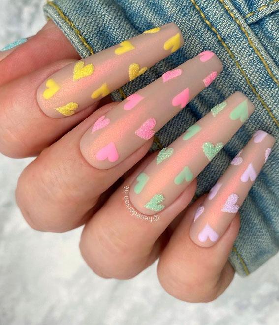 small pastel heart nails, simple heart nail designs , valentine nails 2021, valentine nails, valentine nails acrylic, valentine nail art, valentine nail designs, valentine's day nails