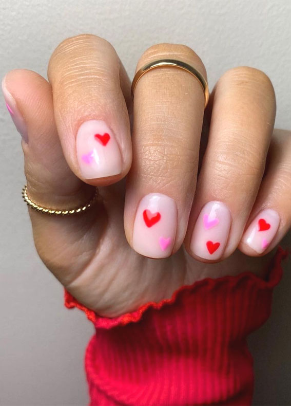 valentine nail stickers, pink and red heart nails, simple heart nail designs , valentine nails 2021, valentine nails, valentine nails acrylic, valentine nail art, valentine nail designs, valentine's day nails