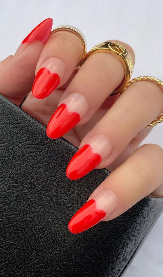 red heart french tips, red french nails tip, red valentine nails, red valentines nails, valentine's nails, valentine's day nails, valentine nail art designs 2021