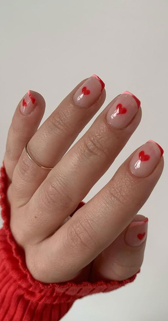 small red heart nails, simple heart nail designs , valentine nails 2021, valentine nails, valentine nails acrylic, valentine nail art, valentine nail designs, valentine's day nails