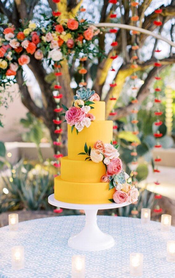 yellow wedding cake, yellow cake , colorful wedding cake