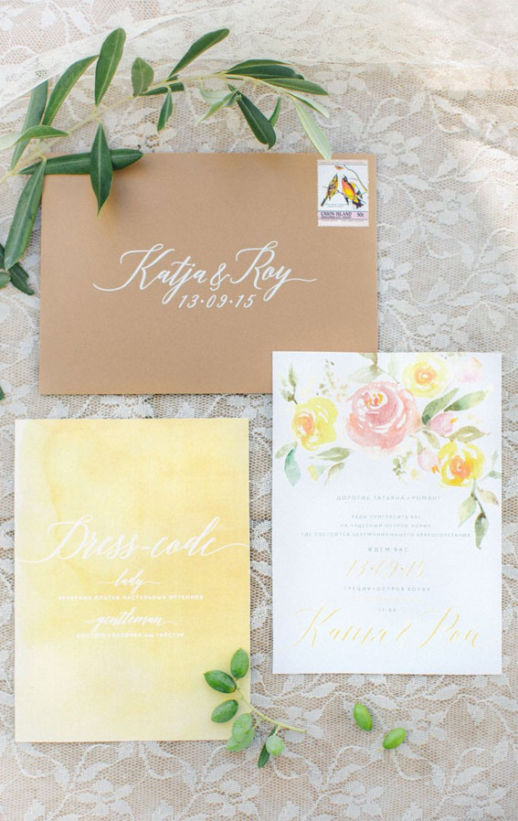 yellow wedding invitation, yellow wedding ideas, yellow wedding invites