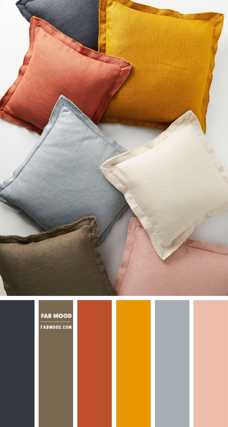 Fall Colour Palette { Charcoal, Dusty blue, Dusty Rose, Mustard, Olive Rust } – #Colour Palette 132