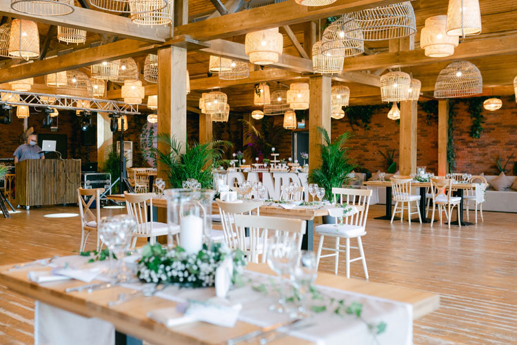 green and white wedding theme, intimate chic wedding, wedding reception decorations, wicker lantern hanging from the ceiling