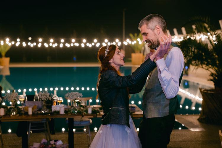 bride and groom wedding dance, the bride wore black leather, wedding dance, intimate chic wedding
