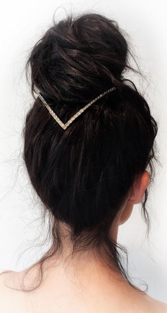 top knot hair do, high bun ,updo, easy updo hairstyle, simple updo, messy updo hairstyle #updohairstyle