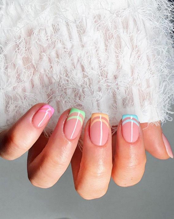 pastelni francuski nail art deisgn, uskršnji nokti, uskršnji dizajn noktiju, uskršnji dizajn noktiju, uskršnje boje noktiju, uskrsni nokti 2021, pastelni nokti, uskršnji nokti u boji ulice, uskršnji nokti akril