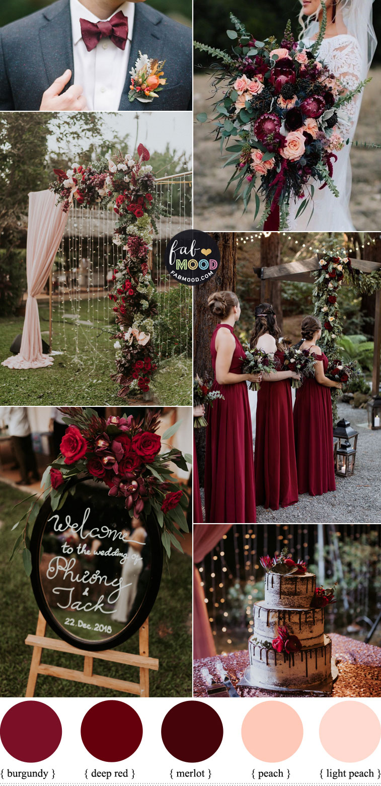 Burgundy, Deep Red and Peach Autumn Wedding Colour