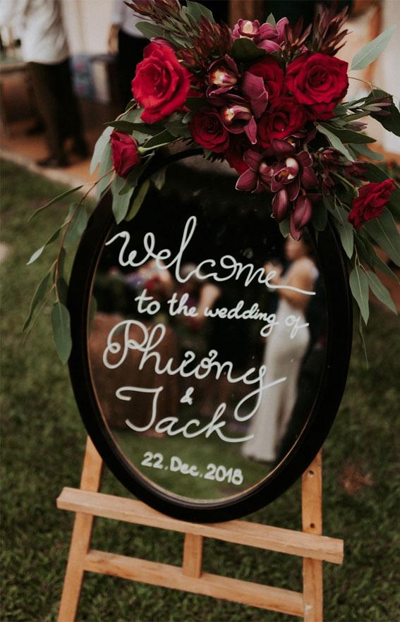 fall wedding decor, mirror wedding sign, mirror welcome wedding sign