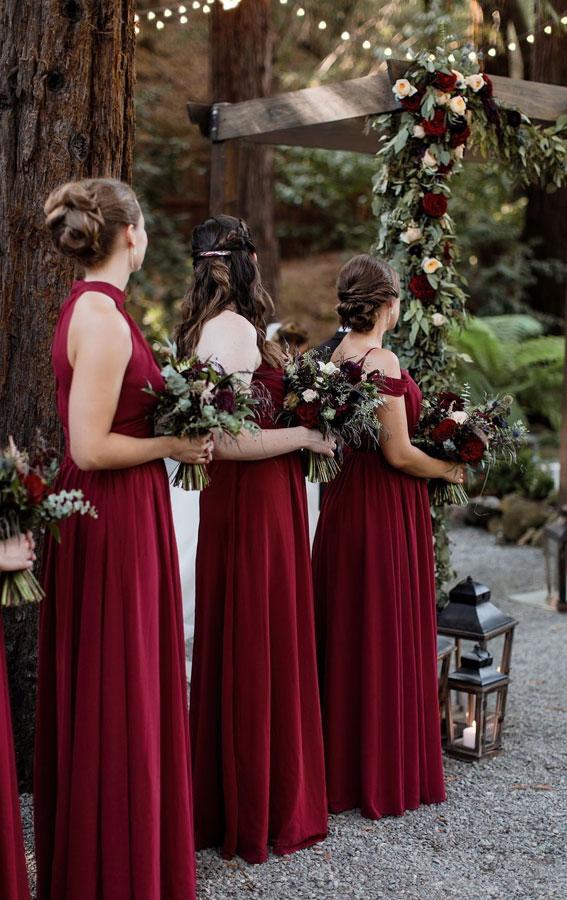 burgundy bridesmaid dresses, wine bridesmaid dresses, deep red bridesmaid