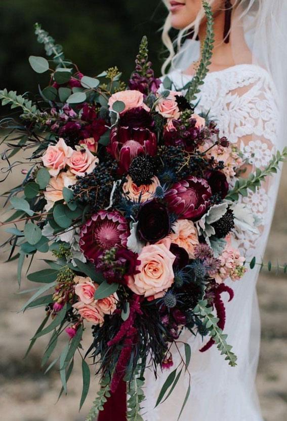 burgundy wedding flowers, fall wedding bouquet, fall bridal bouquet, deep red wedding bouquet, autumn wedding bouquet