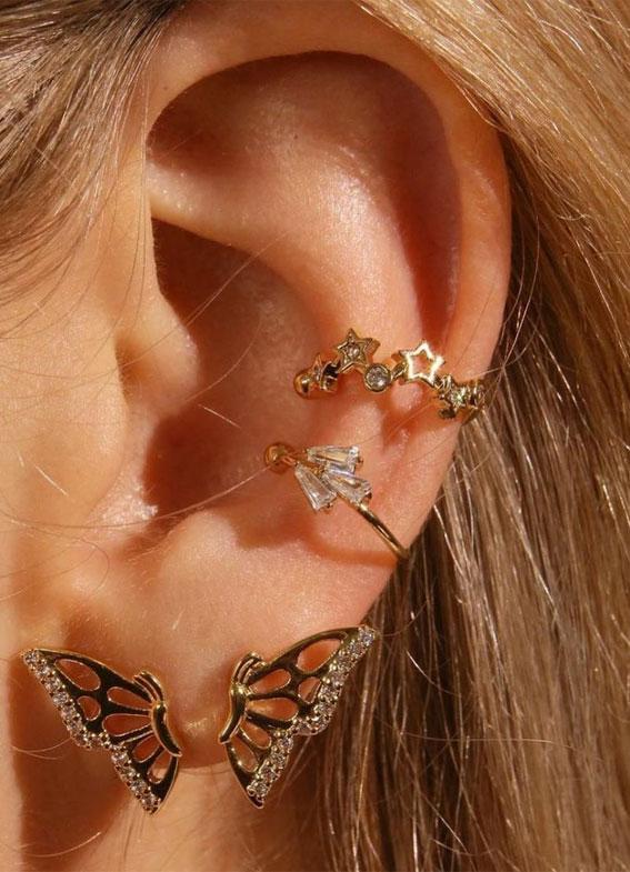 ideje za piercing u uhu, piercing za uši, ideje za piercing u naušnicama, savršeno postavljanje piercinga u uhu, kurativni piercing u uhu, kurativni trend piercinga u uhu, kurativni nakit za uši