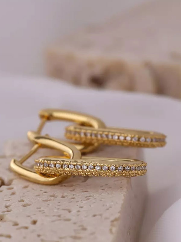 14k gold earrings, 14k gold link earrings, hypoallergenic earrings