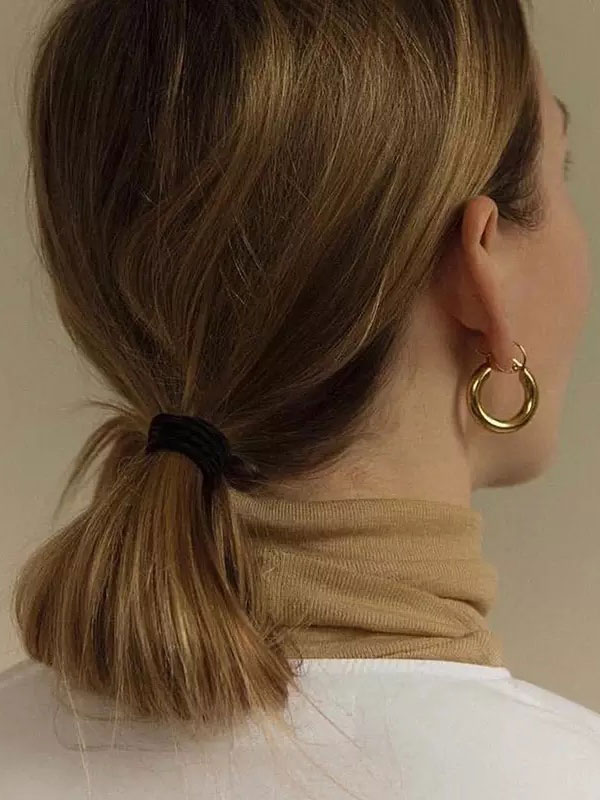 14k gold hoop earrings, simple gold hoop earrings, 14k gold link earrings, hypoallergenic earrings