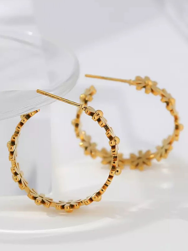 14k gold hoop flower earrings, flower gold hoop earrings, 14k gold link earrings, hypoallergenic earrings