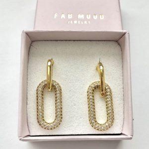 14k gold earrings, 14k gold link earrings, hypoallergenic earrings