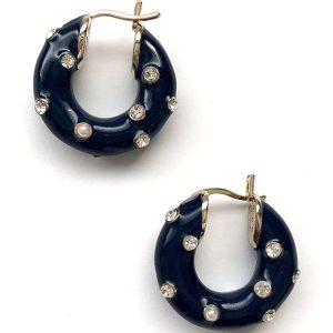 14k dark blue earrings, 14k gold link earrings, hypoallergenic earrings