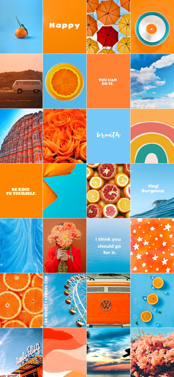 Blue and Orange Wall Collage Idea