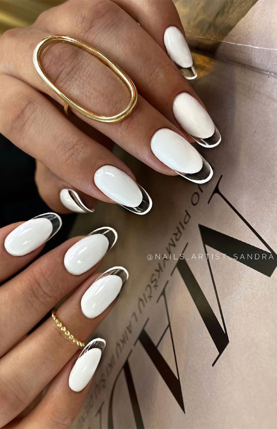 white nails with clear tips, transparent nail tips, white nail polish, white nail art, white nails, white nail designs, white nail designs 2021, white nail designs coffin, white nail designs acrylic, white nail art, white nail ideas, white acrylic nails, simple white nail designs