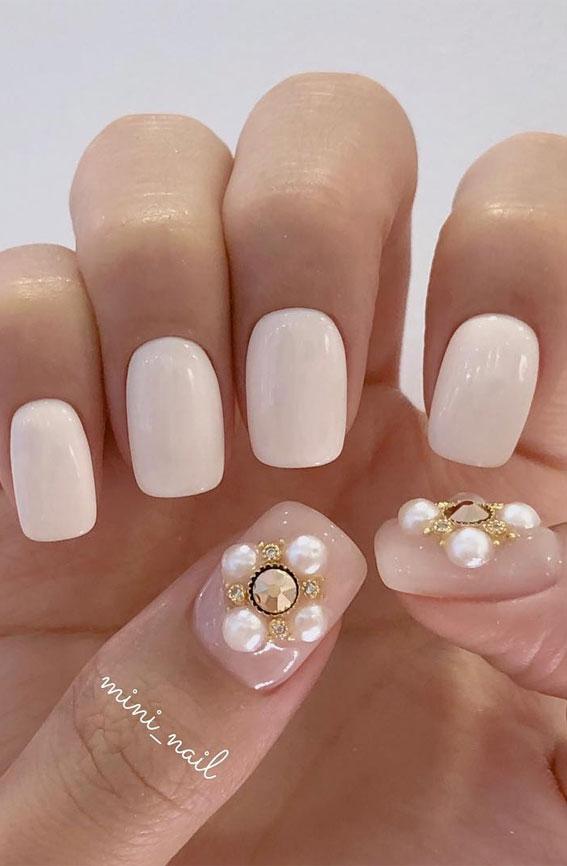 white nail art designs, white nails, white and nude nails, white nail designs , white nail ideas 2021