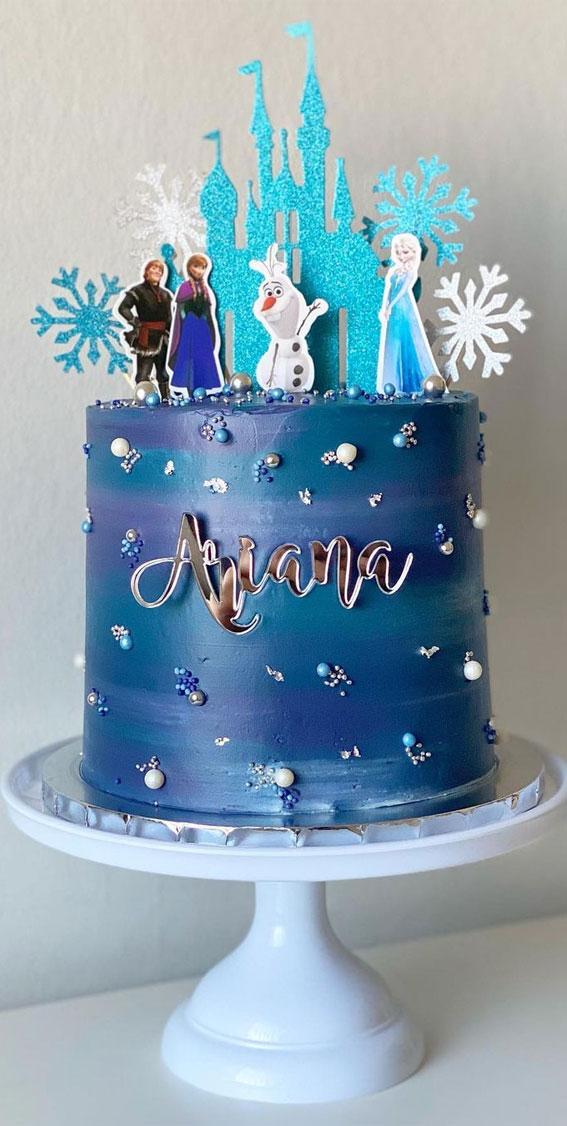 dark blue frozen birthday cake , frozen birthday cake decoration, frozen cake ides, disney frozen cake , frozen themed birthday cake, disney frozen birthday Cake, frozen cake ideas, images #frozencake #frozenbirthdaycake frozen themed cakes