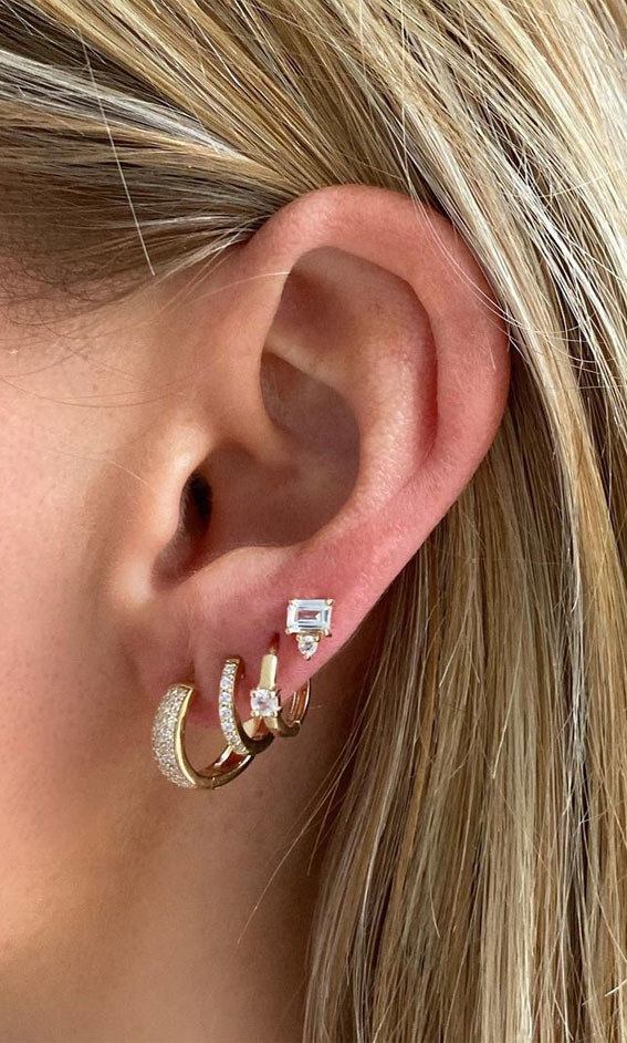 Pave Diamond Mini Hoops: Best Curated Ear Piercing trend 2021