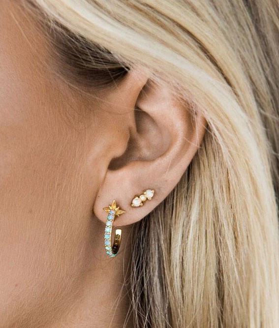 Beautiful Opal ear stacks: Best Curated Ear Piercing trend 2021