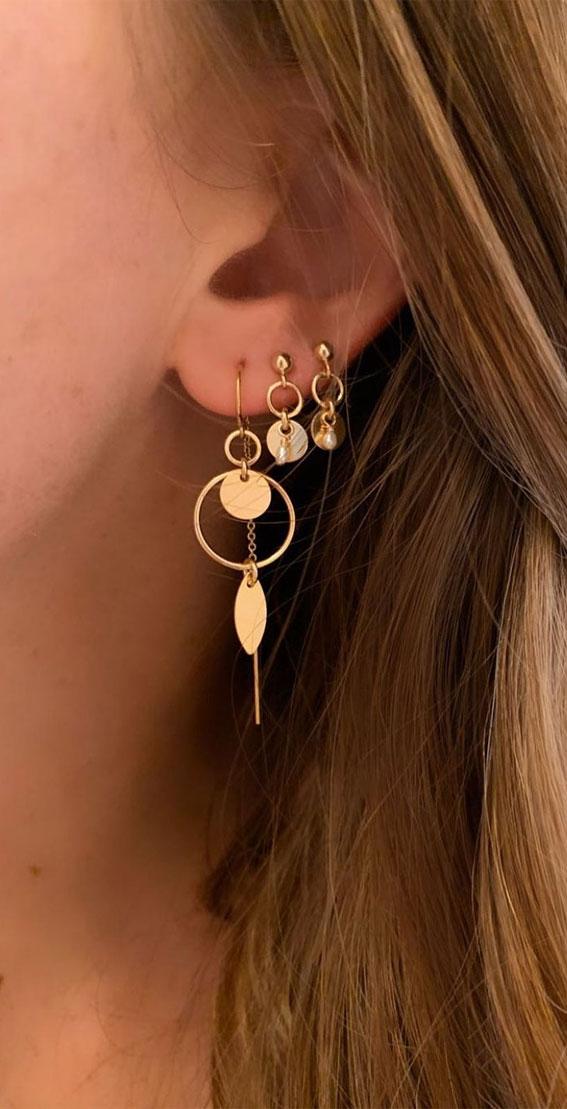 Beautiful drop earring stacks : Best Curated Ear Piercing trend 2021