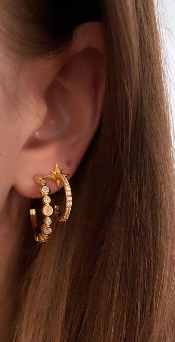 Star hoop earring stack: Best Curated Ear Piercing trend 2021