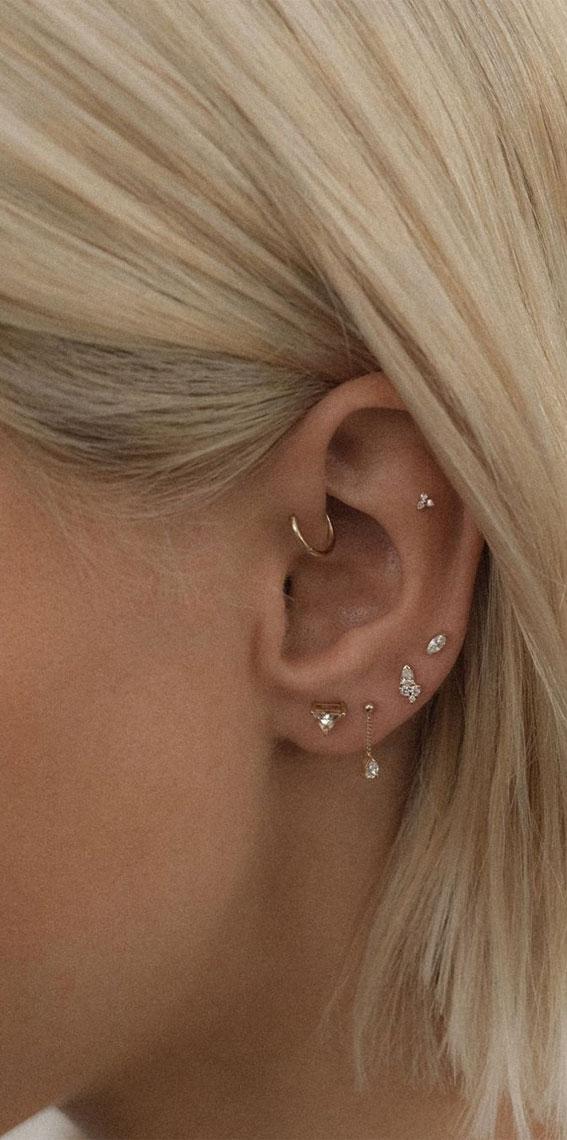 ear piercings Ideas, ear piercings, earring piercings ideas, perfect ear piercing placement, curated ear piercing, curated ear Piercing trend, curated ear jewelry